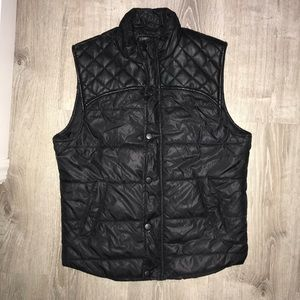 Black puffer button up vest